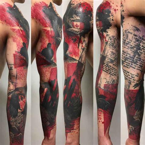 tattoo back sleeve trash polka tattoo sleeve trash polka style pinterest