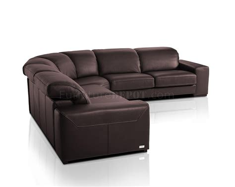 full leather sectional sofa nadir sectional sofa in brown full leather by vig