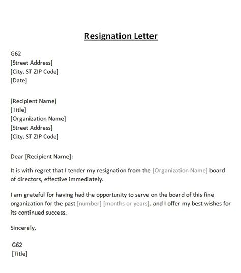 letter of resignation from board resignation letter from board template sle