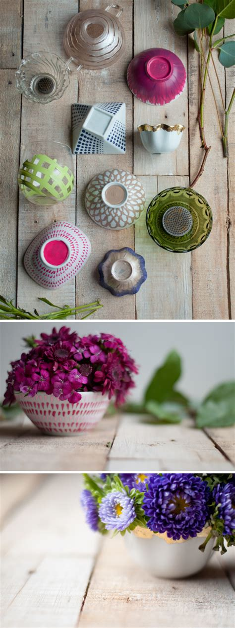 diy flower frog bowls design mom
