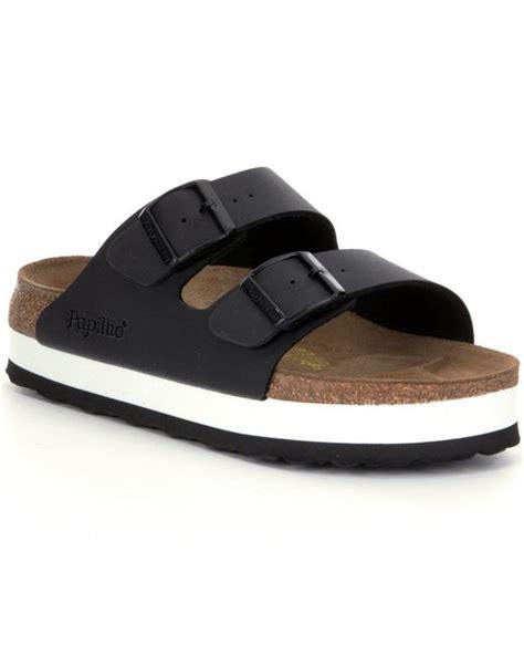 birkenstock platform sandals birkenstock arizona platform sandals in black lyst