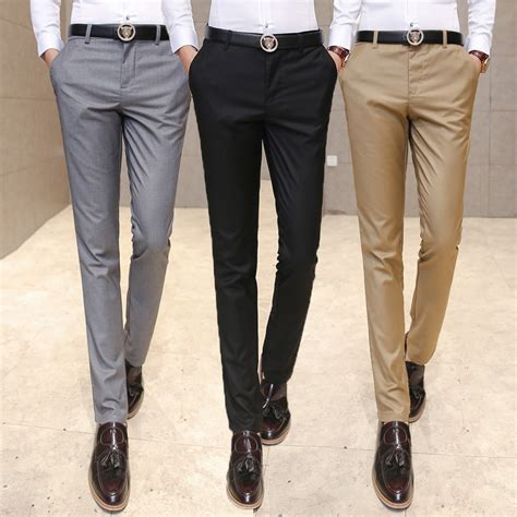 Fashion Trousers Color Slim Design Navy mens slim fit suit trousers suit la