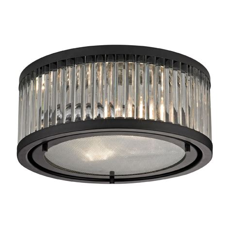 elk 46132 2 linden rubbed bronze flush mount ceiling