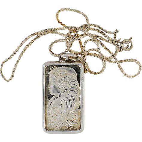 18 quot sterling necklace w half ounce 999 silver ingot