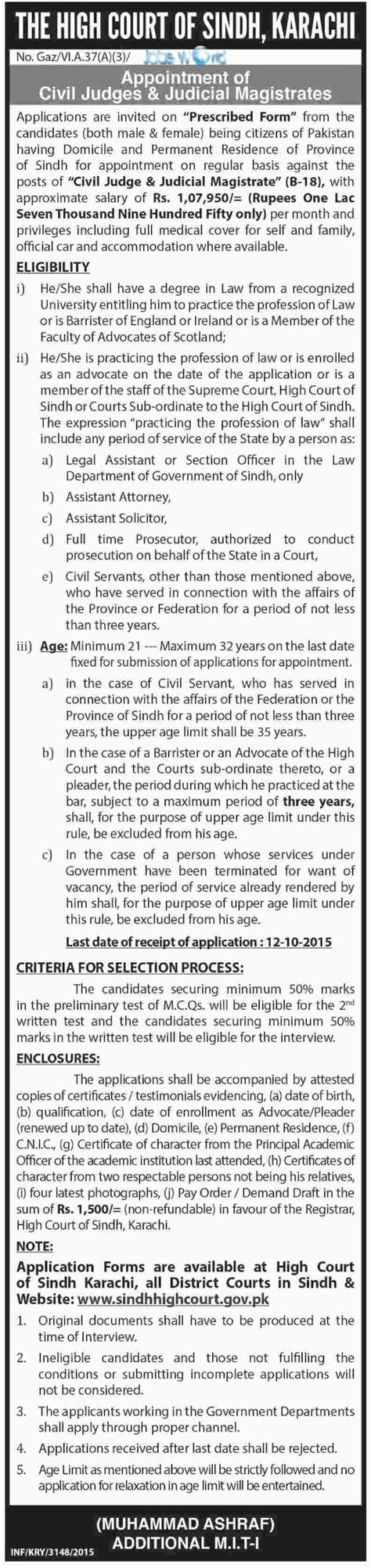 Sindh High Court Search High Court Of Sindh Civil Judges Judicial Magistrates Opportunity 2015 Jobsworld