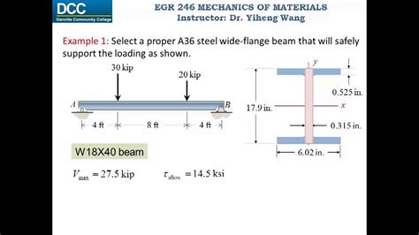 i section moment of inertia calculation mechanics of materials lecture 22 simple beam design