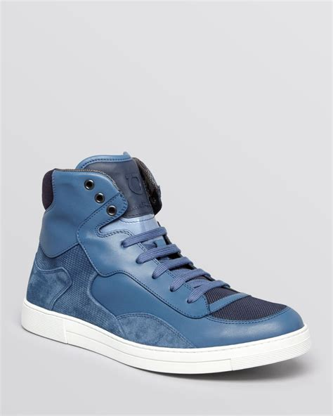 ferragamo sneakers mens ferragamo robert high top sneakers in blue for