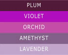 different colors of purple 5 different shades of purple wedding colors