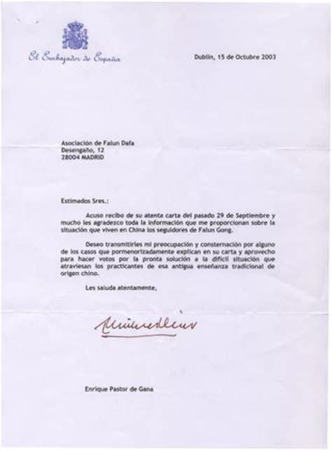 Modèles De Lettre En Espagnol Lettre De L Ambassadeur Espagnol En Irlande Aux Pratiquants
