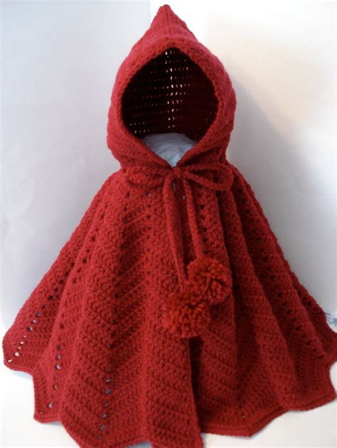 pattern for dress up cape little red riding hood crocheted bright fire engine red