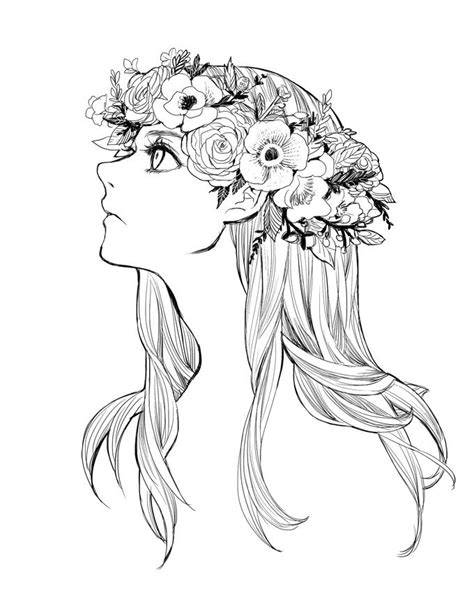 flower crown coloring page flowercrown by zoo chan deviantart com on deviantart b