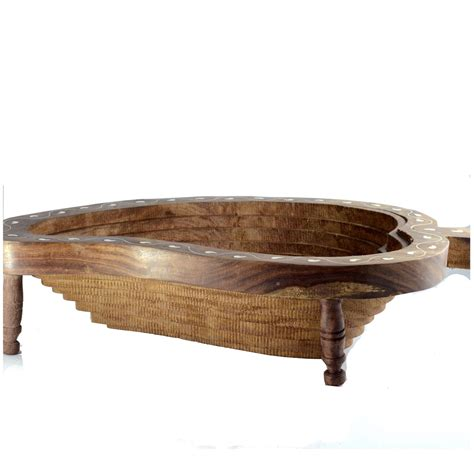 Wood Handcraft - sheesham wood mango shaped handcrafted fruit basket