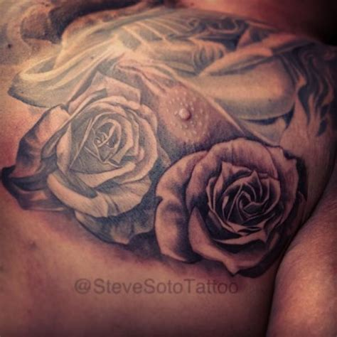 chest roses tattoo realistic chest flower by steve soto