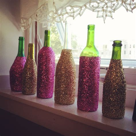 home decor with wine bottles glitter glass wine bottles decorative wine by blackandwheatco