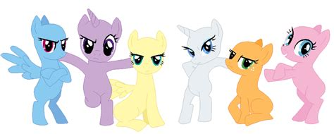 my little pony mane 6 base mane six base 03 by selenaede on deviantart