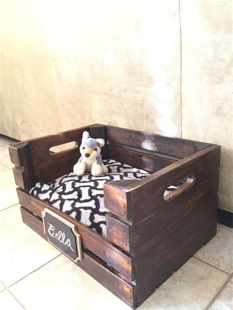 Modified From A Wooden Wine Crate This Personalized Dog Wooden Crate Bed Frame