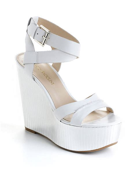 Wedges Keren Wedges 1 enzo angiolini zamaz leather platform wedge sandals in white lyst