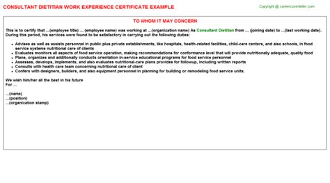 Experience Letter Providing Consultancy consultant dietitian work experience certificate letter