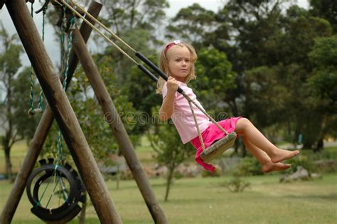 swinging the lifestyle child swinging stock image image of caucasian girl