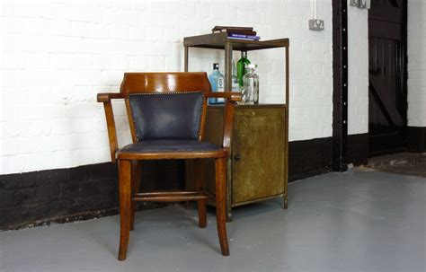 Glowing Chairs Make For Great Late Barbecues by A Vintage Golden Oak 1920 Office Desk Chair With Blue