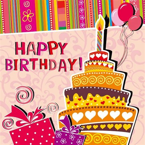 Free Birthday Card Cartoon Birthday Card 03 Vector Free Vector In
