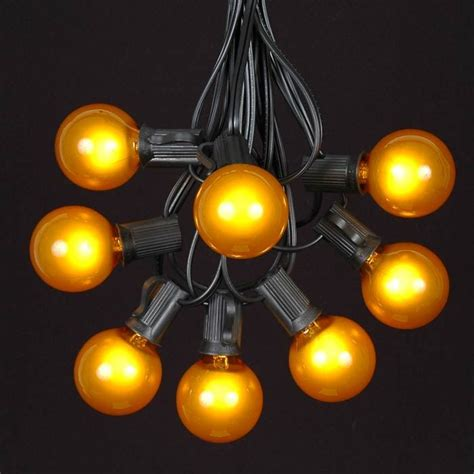 Yellow G40 Globe Round Outdoor String Light Set On Black Yellow String Lights
