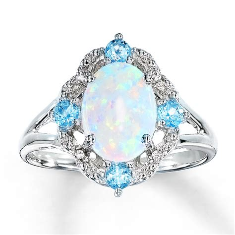 lab created opal ring blue topaz diamonds sterling