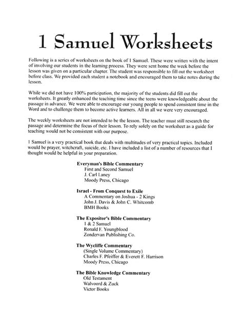 Xl Worksheets by 1 Samuel Worksheets Xl Ministries Inc