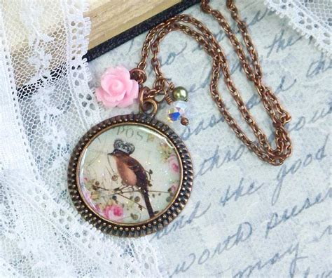 bird pendant necklace shabby chic jewelry bird necklace