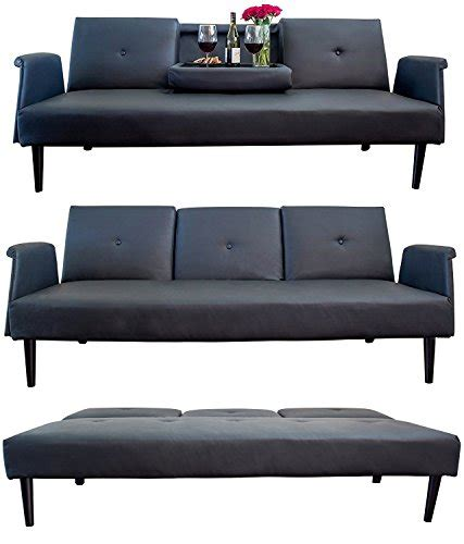 Leather Sofa Bed With Tray And Cup Holders Black Genuine Leather Sofa Bed
