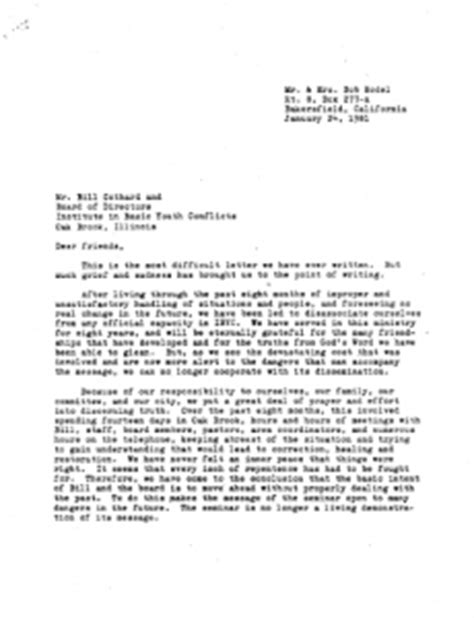 Youth Ministry Resignation Letter by The Gothard Files Failure To Reconcile 1981 Ati Part Two