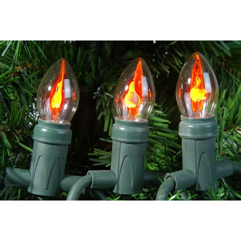 outdoor christmas string lights with flickering flame