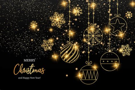 elegant merry christmas  happy  year greeting card vector
