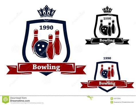 design banner bowling three bowling badges or emblems stock vector image 42972309