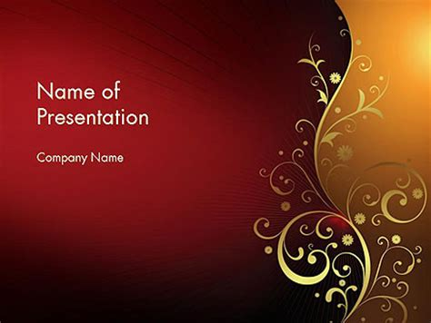 golden powerpoint themes golden pattern with swirls presentation template for