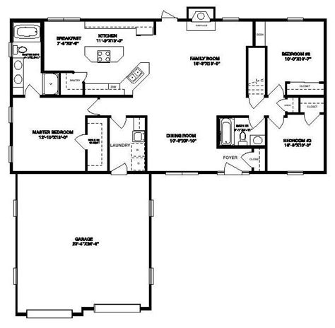 Linden Floor Plan by Linden 1540 Square Foot Ranch Floor Plan