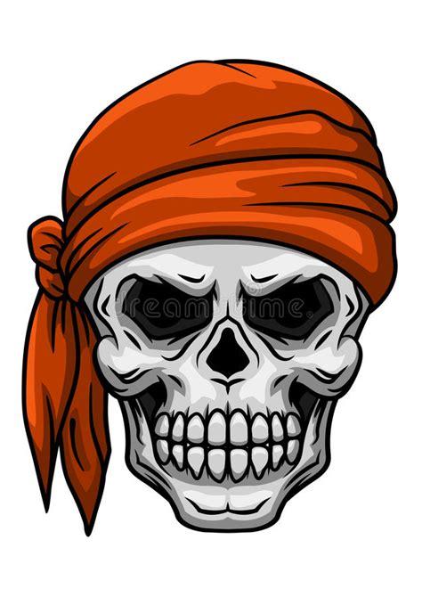tattoo cartoon halloween skull in orange bandana stock vector illustration of