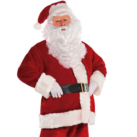 mens deluxe plush velvet santa suit father christmas xmas