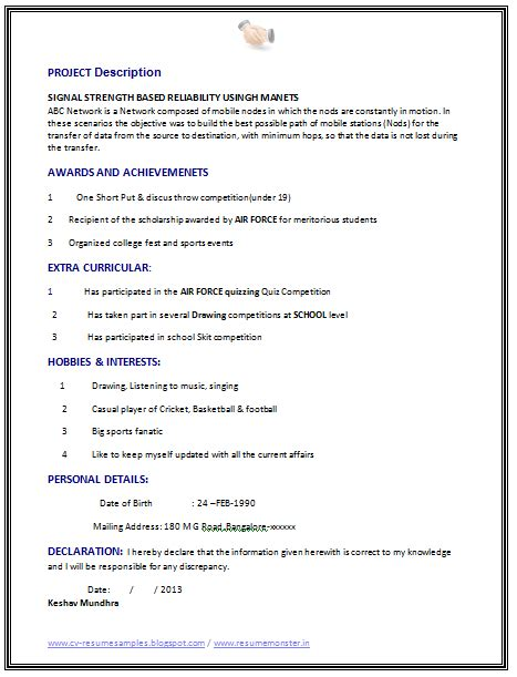 Resume Format For Computer Science Engineering Students For Internship best fresher computer science student resume sle