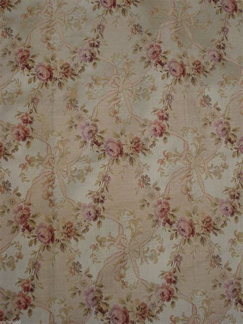 Aubusson Upholstery Fabric Antique Victorian French Silk Coton Brocade Rose Garlands