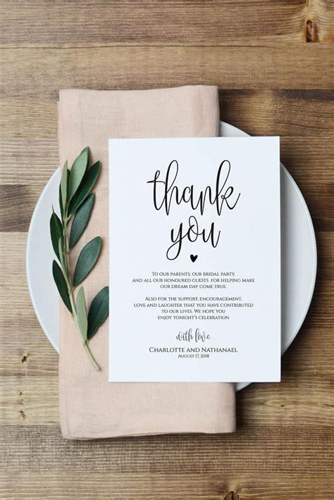 thank you cards for dinner template wedding thank you note printable thank you card template