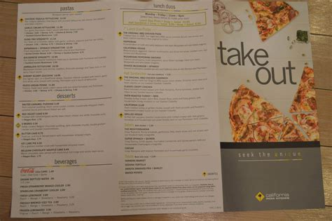 Kitchen Menu by California Pizza Kitchen Menu Prices