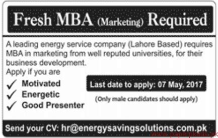 Fresh Mba In Pakistan by Fresh Mba Marketing Staff Required Paperpk