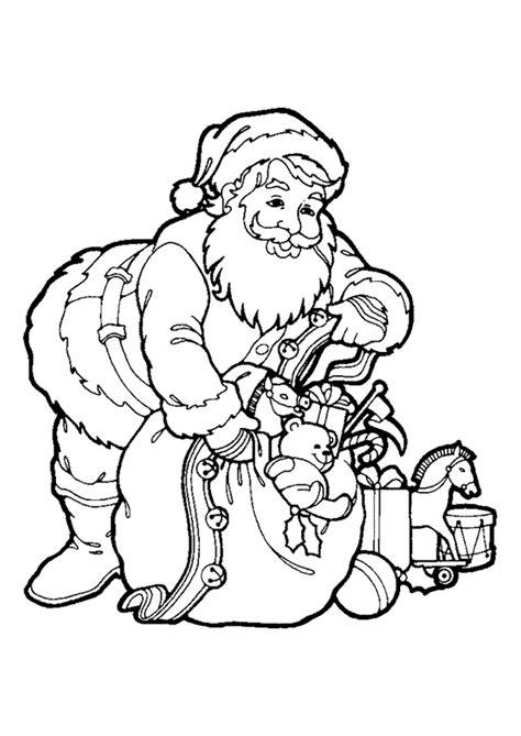 Coloriage Père Noël avec son Sac à Jouets - Hugolescargot.com