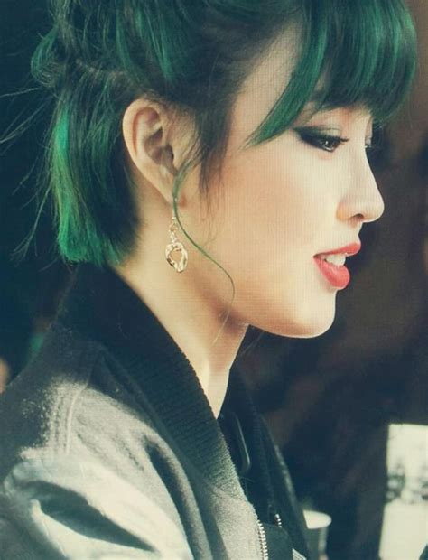 Model Rambut Hyuna 4minute by 4minute Jiyoon Photos Green Hair