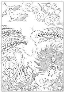 adult mermaid with long hair by lian2011 coloring pages mermaid with long hair by lian2011 mermaids coloring