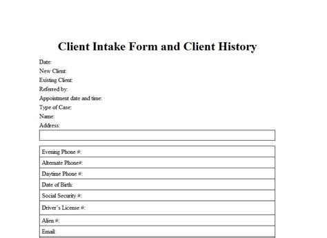 free client intake form template client intake form template sle