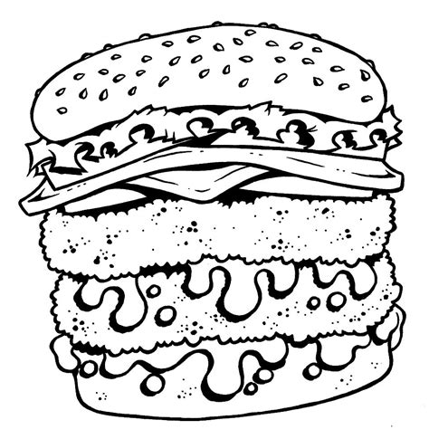 cheeseburger free colouring pages