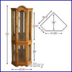 Lighted Display Corner Cabinet Corner Display Cabinet Lighted Curio Glass Golden Oak