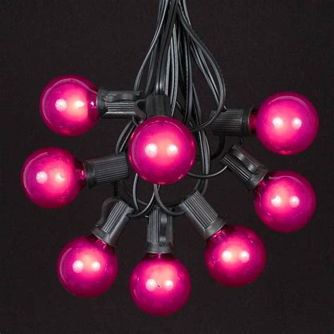 Pink G40 Globe Round Outdoor String Light Set On Black Pink String Lights